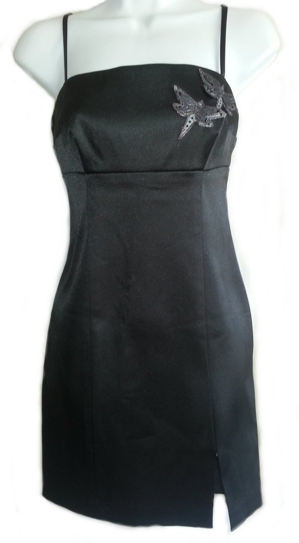 HUGO BUSCATI COLLECTION Black Satin Straight Dress - Misses/Jrs 4
