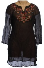 STYLE & CO. Sheer Black Crinkle Ethnic Themed Swimsuit Cover Up Dress - Size S